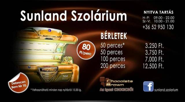 Sunland Szolárium bérletek